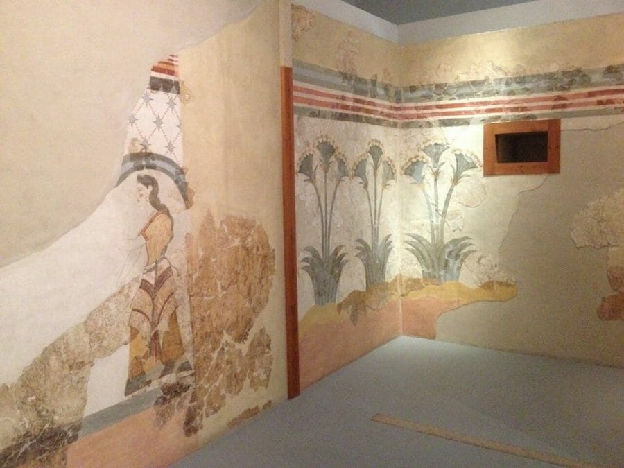 A wall with paintings from the ancient city of Akrotiri at the  Museum of Prehistoric Thera