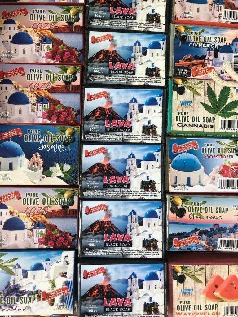 Some olive oil and lava soaps sold in Fira, Santorini