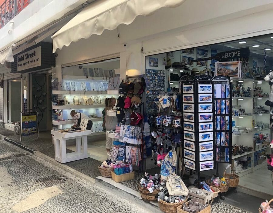 stores in Fira, the capital of Santorini, displaying Greek goods for tourists