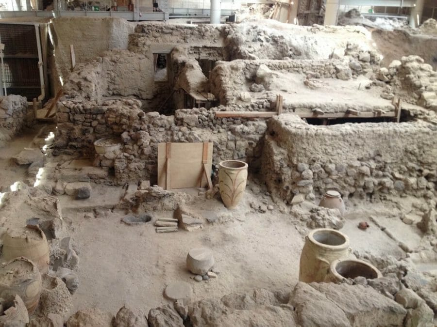 ceramic vases and houses in the archaeological site of Akrotiri, Santorini