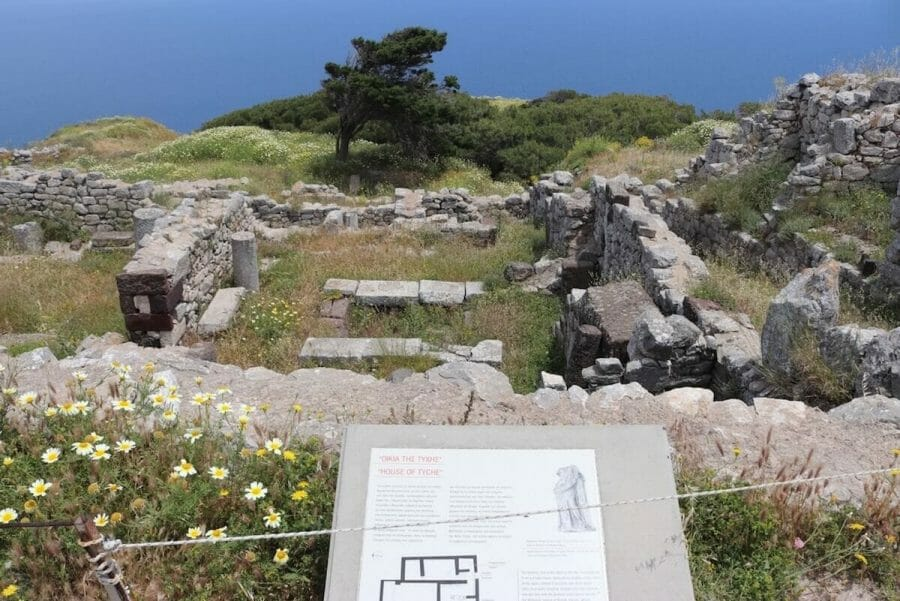 The preserved ruins of the Hellenistic and Roman phases of the city Ancient Thera, Santorini
