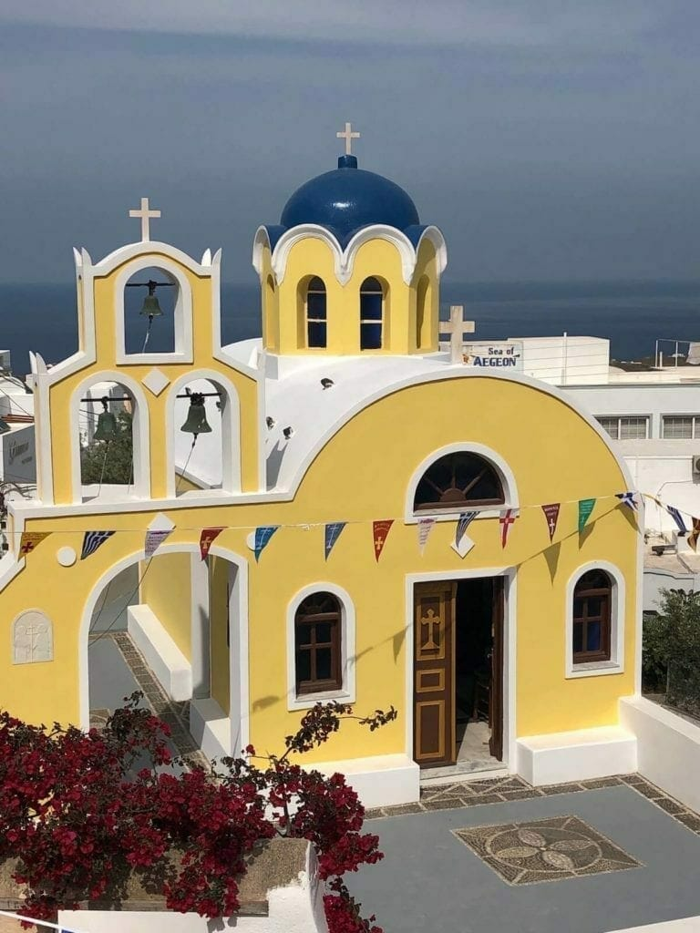 Saint Constantine and Santa Helena Church, near the Foklore Museum, in Santorini, Greece