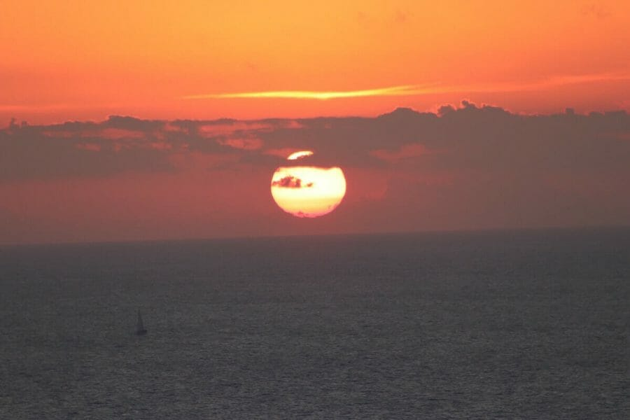 The magnificent Santorini sunset from Akrotiri Lighthouse